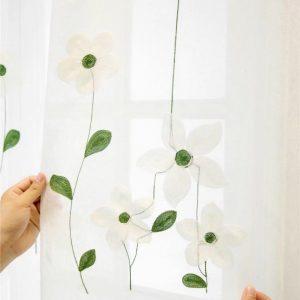 Rèm voan thêu bông hoa màu xanh RV8